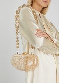 CULT GAIA Tallulah flecked acrylic shoulder bag ~ luxe transparent bags