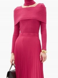 THEBE MAGUGU Cutout roll-neck ribbed wool sweater in pink ~ bright cut out jumpers