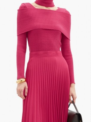 THEBE MAGUGU Cutout roll-neck ribbed wool sweater in pink ~ bright cut out jumpers - flipped