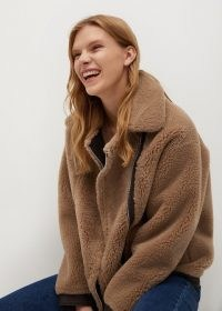 MANGO TABASCO Faux shearling reversible jacket / casual beige textured jackets / winter outerwear