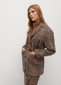 MANGO RANCHO Checked print fringed blazer / fringe trim blazers