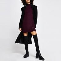 RIVER ISLAND Dark red turtleneck jumper dress | high neck sweater dresses | winter knitwear