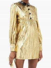 GUCCI Detachable-collar lamé mini dress ~ metallic-gold evening dresses ~ vintage style party glamour
