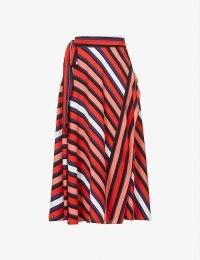 DIANE VON FURSTENBERG Tilda striped high-waist crepe midi skirt – red stripe skirts
