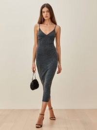 REFORMATION Disco Dress – sparkling skinny strap evening dresses – glamorous fitted party clothing – glamour