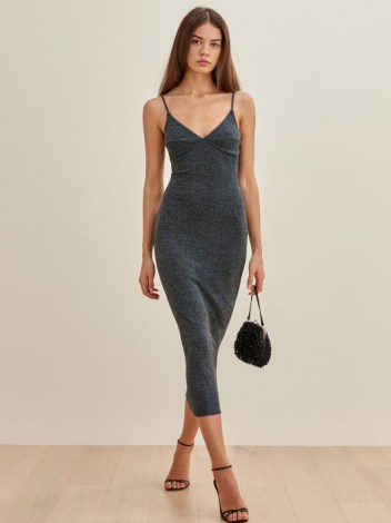 REFORMATION Disco Dress – sparkling skinny strap evening dresses – glamorous fitted party clothing – glamour - flipped