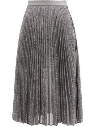 CHRISTOPHER KANE DNA pleated metallic tulle midi skirt / shimmering silver skirts
