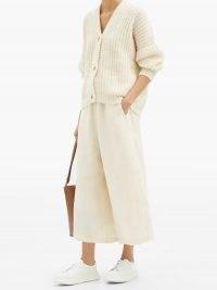 LAUREN MANOOGIAN Dormer cropped wide-leg linen-blend twill trousers | casual crop leg pants