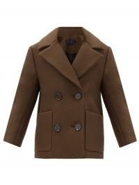 PROENZA SCHOULER Brown double-breasted twill pea coat