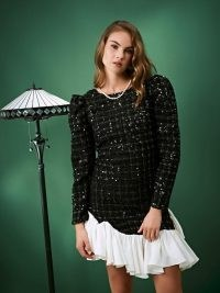 sister jane Solo Dancer Tweed Mini Dress / sparkling puff sleeve dresses / asymmetric ruffle hem