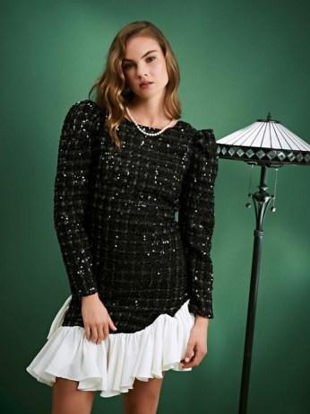 sister jane Solo Dancer Tweed Mini Dress / sparkling puff sleeve dresses / asymmetric ruffle hem - flipped