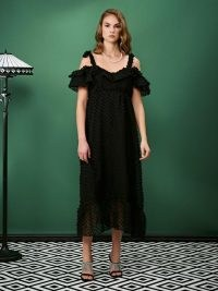 sister jane ALL THAT JAZZ One Step Midi Dress / black cold shoulder evening dresses / textured dots