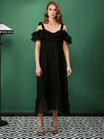 sister jane ALL THAT JAZZ One Step Midi Dress / black cold shoulder evening dresses / textured dots