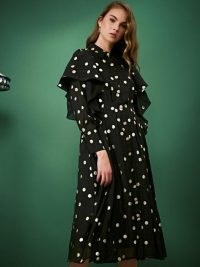 sister jane Fancy Footwork Ruffle Midi Dress / black ruffled spot print dresses