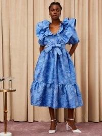 sister jane Cocktail Jacquard Midi Dress -blue ruffle trim occasion dresses – party fashion with volume