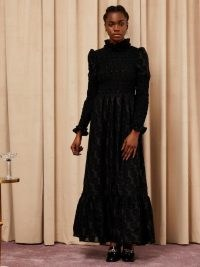 sister jane Entertain Shirring Maxi Dress – black occasion dresses – frill trim cuffs and high neck
