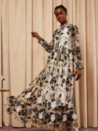 sister jane Soiree Embroidered Maxi Dress – floral occasion dresses – sheer overlay ~ ruffled high neck event fashion