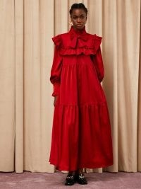 sister jane Canape Ruffle Bow Maxi Dress – red frill trimmed occasion dresses