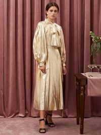 sister jane Canape Pleated Maxi Dress | gold statement occasion dresses | vintage style pussy bow dress | tie detail fashion