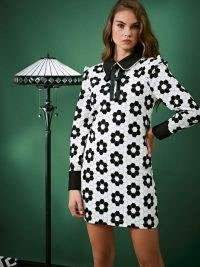 sister jane Daisy Deco Rabbit Dress / monochrome geometric floral prints