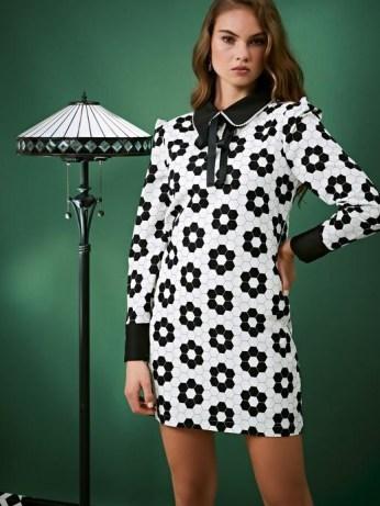 sister jane Daisy Deco Rabbit Dress / monochrome geometric floral prints