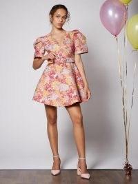 sister jane Freshman Jacquard Belted Skater Dress ~ floral puff sleve dresses