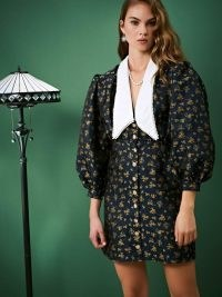 sister jane Josephine Jacquard Mini Dress / floral balloon sleeve dresses / oversized collars / big collar fashion
