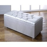 Stager Faux Leather Storage Bench by Ebern Designs in silver