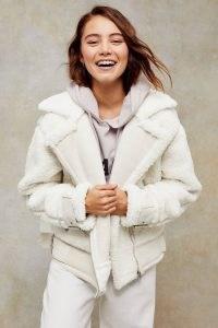 TOPSHOP Ecru Borg Biker Jacket – textured faux fur winter jackets