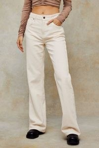TOPSHOP Ecru Corduroy Relaxed Flared Jeans ~ neutral cords