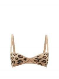 KHAITE Eda cheetah-jacquard underwired cashmere bralette – wild cat bralet – knitted bralets