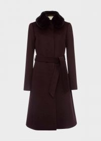 HOBBS EDELINE WOOL COAT WITH FAUX FUR COLLAR – wine coloured winter coats – deep autumn colours