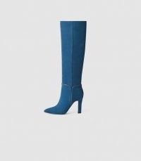 REISS ELINE SUEDE KNEE HIGH BOOTS BLUE