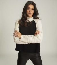 REISS ELLE WOOL CASHMERE BLEND ROLL NECK BLACK/WHITE / colour block jumpers / monochrome knitwear