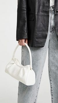 Elleme Dimple Bag | small white croc embossed handbag