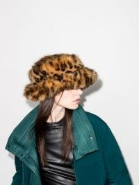 Emma Brewin leopard faux-fur bucket hat – fluffy winter hats – animal print accessories