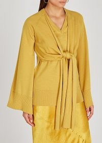 ERIKA CAVALLINI Mia mustard wool jumper ~ contemporary front tie jumper ~ dark yellow knitwear