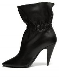 SAINT LAURENT Etienne gathered leather ankle boots ~ black point toe cone heel boots