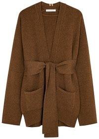 EXTREME CASHMERE N°154 Care brown cashmere-blend cardigan ~ waist tie wrap cardigans