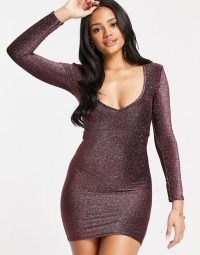 Fashionkilla glitter plunge front mini bodycon dress with ruched bum detail in rose ~ shimmering going out dresses