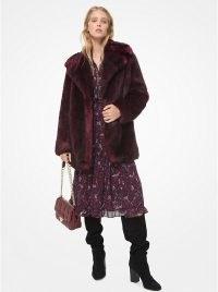 MICHAEL MICHAEL KORS Faux Fur Coat Gark Ruby ~ red winter coats