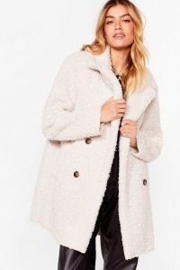 Nast Gal Faux Fur Up to Something Longline Jacket | cream texture winter jackets | neutral winter coats