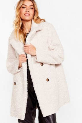 Nast Gal Faux Fur Up to Something Longline Jacket | cream texture winter jackets | neutral winter coats - flipped