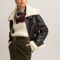 Faux Leather Aviator Jacket with Faux Sheepskin Lining – La Redoute Collections