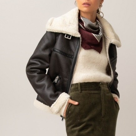 Faux Leather Aviator Jacket with Faux Sheepskin Lining – La Redoute Collections - flipped