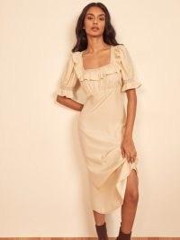 Reformation Fifer Dress in Almond – square frill trim neckline dresses – feminine detail fashion