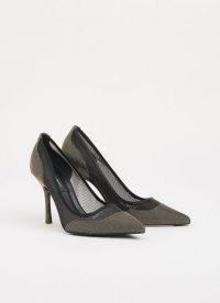 L.K. BENNETT FINLEY BLACK & GOLD MESH COURTS – part sheer court shoes