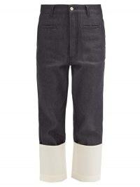 LOEWE Fisherman turn-up cropped-leg jeans in dark indigo / denim