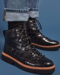 JIGSAW FITZROY TREK BOOT LEATHER ~ black croc embossed lace up boots