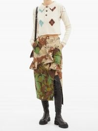 PREEN BY THORNTON BREGAZZI Floral upcycled camouflage cotton-blend midi skirt ~ ruffled camo skirts